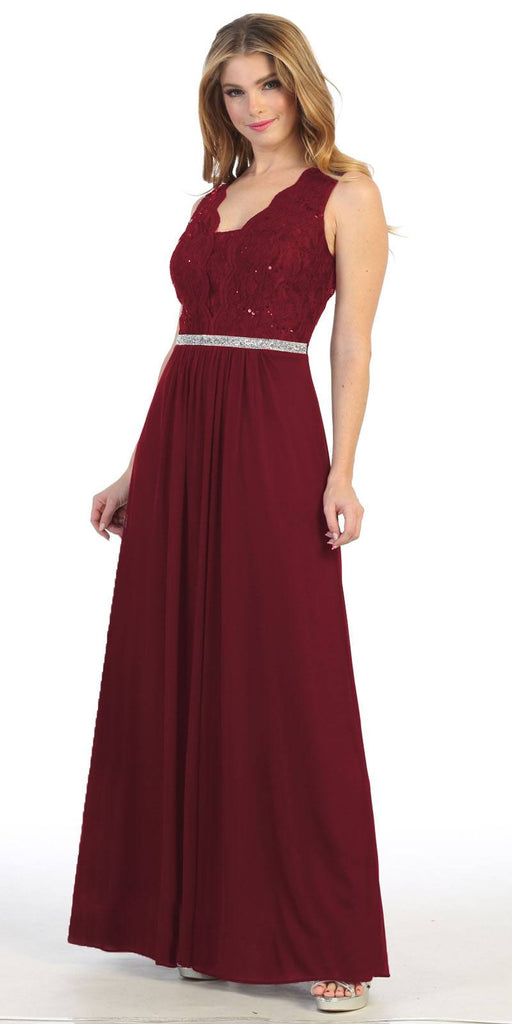 Lace Bodice Burgundy Sleeveless A-Line Long Formal Dress