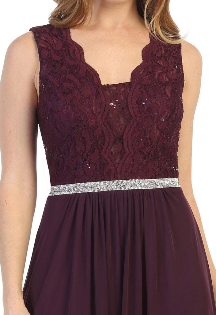 Lace Bodice Plum Sleeveless A-Line Long Formal Dress