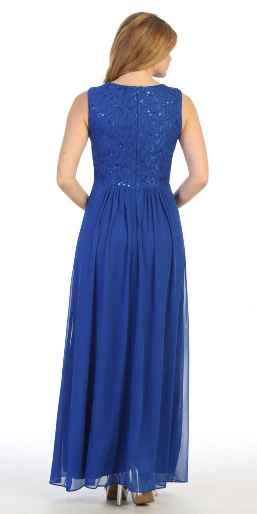 Lace Bodice Royal Blue Sleeveless A-Line Long Formal Dress