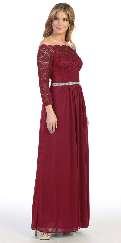Long Sleeved Off-the-Shoulder Long Formal Dress Burgundy