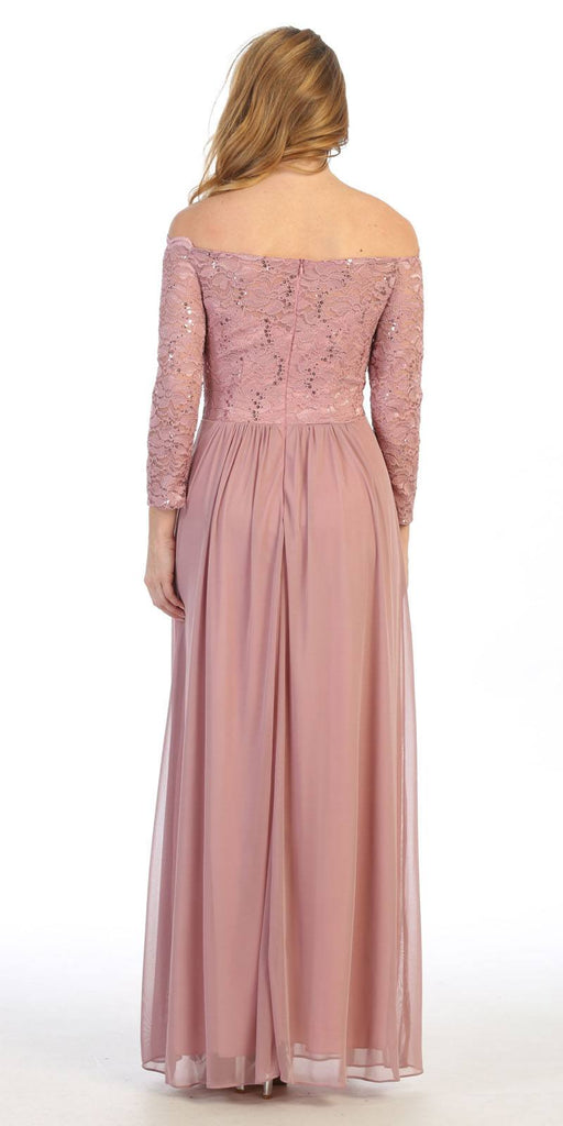 Long Sleeved Off-the-Shoulder Long Formal Dress Mauve