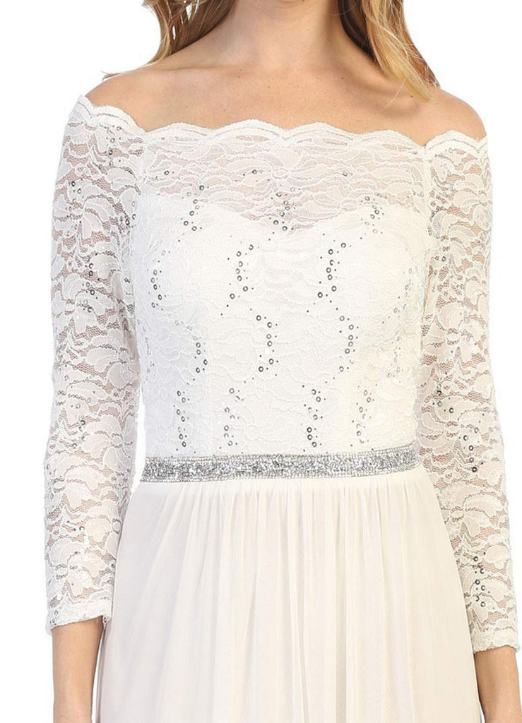 Long Sleeved Off-the-Shoulder Long Formal Dress Off White
