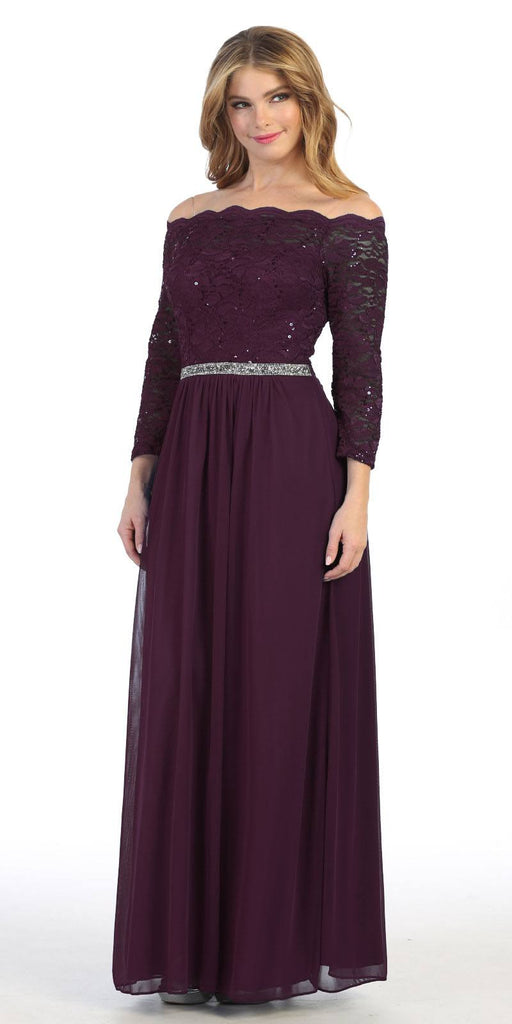 Long Sleeved Off-the-Shoulder Long Formal Dress Plum