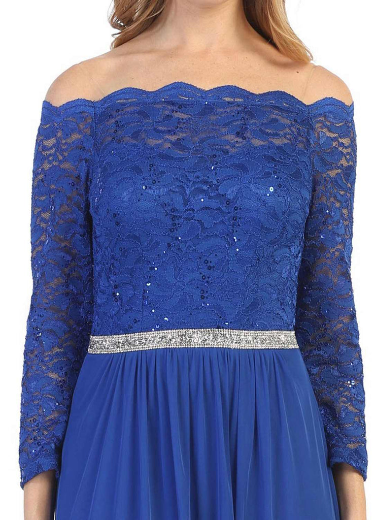 Long Sleeved Off-the-Shoulder Long Formal Dress Royal Blue
