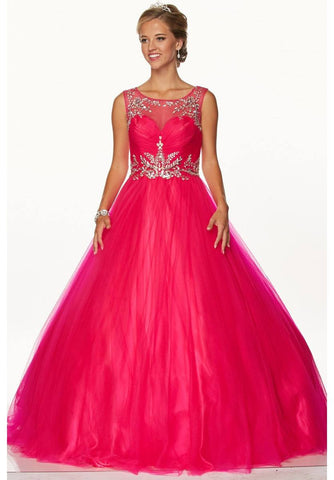 Juliet 647 Fuchsia Quinceanera Dress Embellished Bodice Cut Out Back