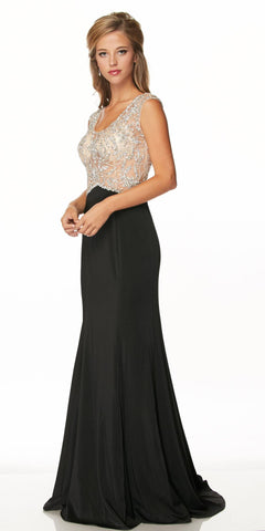 Juliet 648 Scoop Neck Illusion Beaded Bodice Long Formal Dress Black