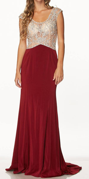 Juliet 648 Scoop Neck Illusion Beaded Bodice Long Formal Dress Wine