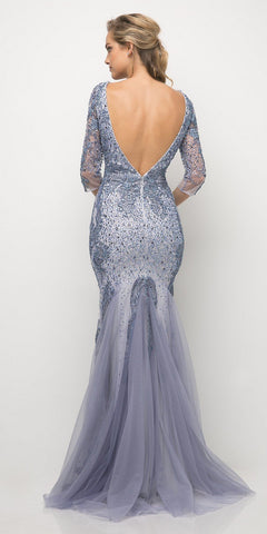 Cinderella Divine 6481 Fitted Beaded Mermaid Gown Perry Blue Deep Plunge Mid Length Sleeve