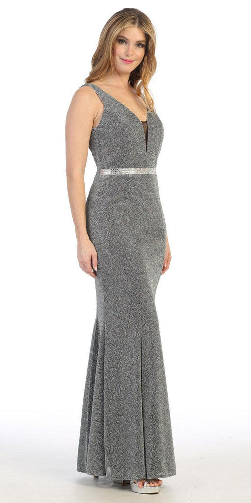 V-Neck Dark Silver Sleeveless Mermaid Long Formal Dress