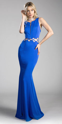 Royal Blue Mermaid Long Prom Dress with Cut-Outs