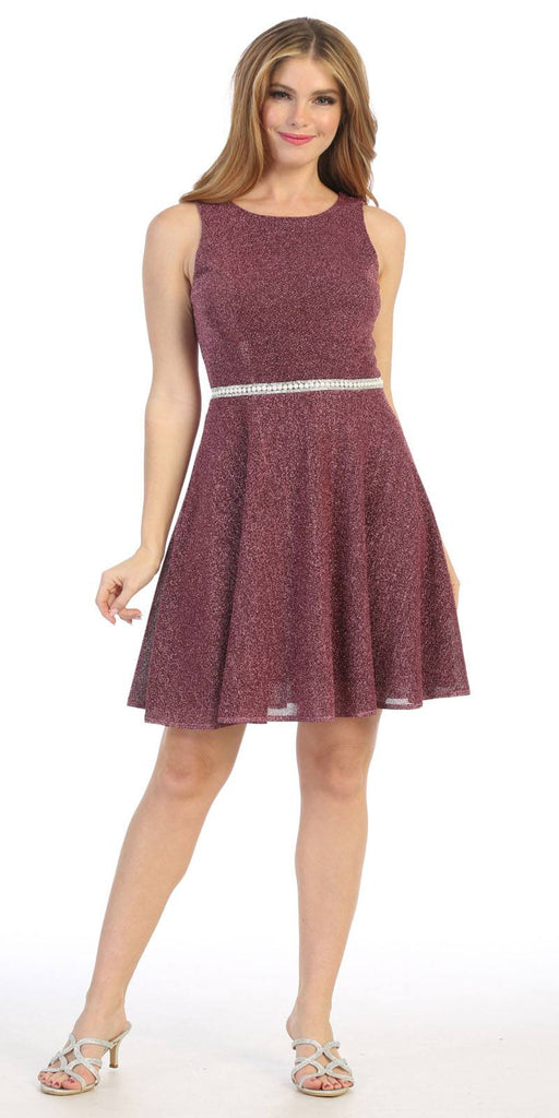 Celavie 6486S Embellished Waist Mauve Short Cocktail Dress Sleeveless