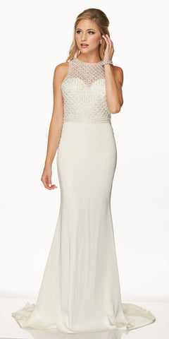 Juliet 649 Long Prom Dress Embellished Bodice Keyhole Back White