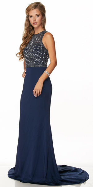 Juliet 649 Long Prom Dress Embellished Bodice Keyhole Back Navy Blue
