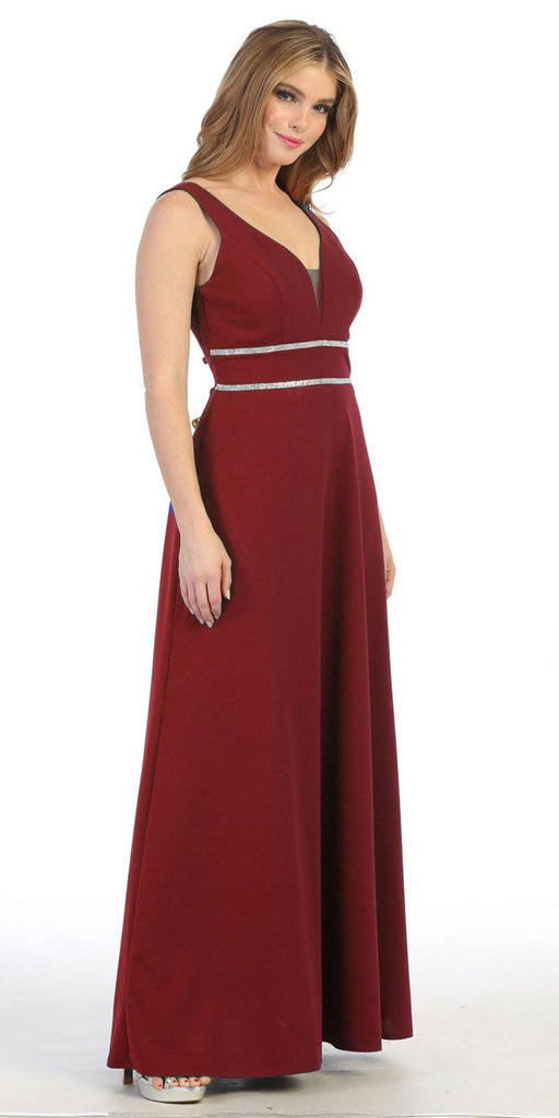Sleeveless V-Neck and Back Long Formal Dress Burgundy