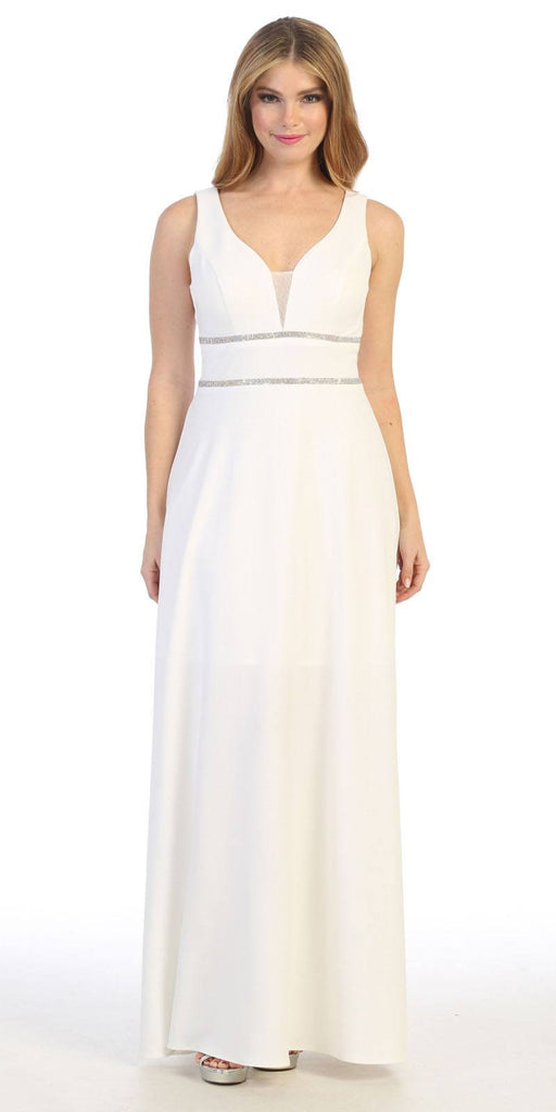 Sleeveless V-Neck and Back Long Formal Dress Off White