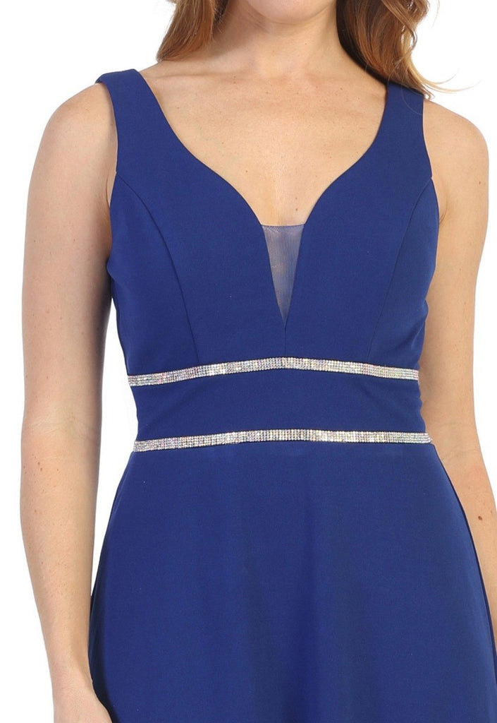 Sleeveless V-Neck and Back Long Formal Dress Royal Blue