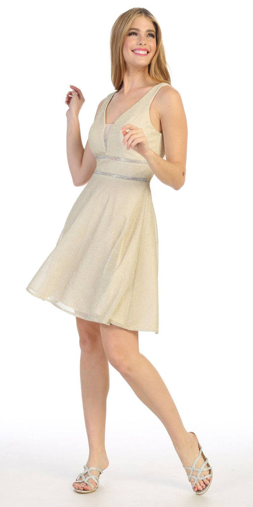 Short V-Neck and Back Homecoming Dress Champagne
