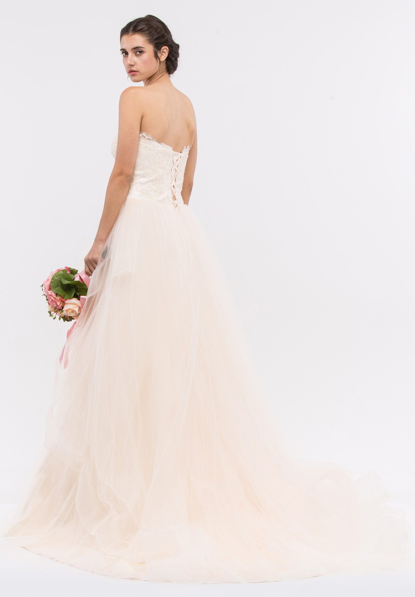 Strapless Sweetheart Neckline Embellished Wedding Gown Champagne ...