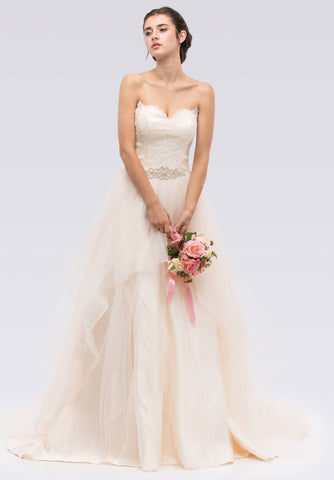 Strapless Sweetheart Neckline Embellished Wedding Gown Champagne