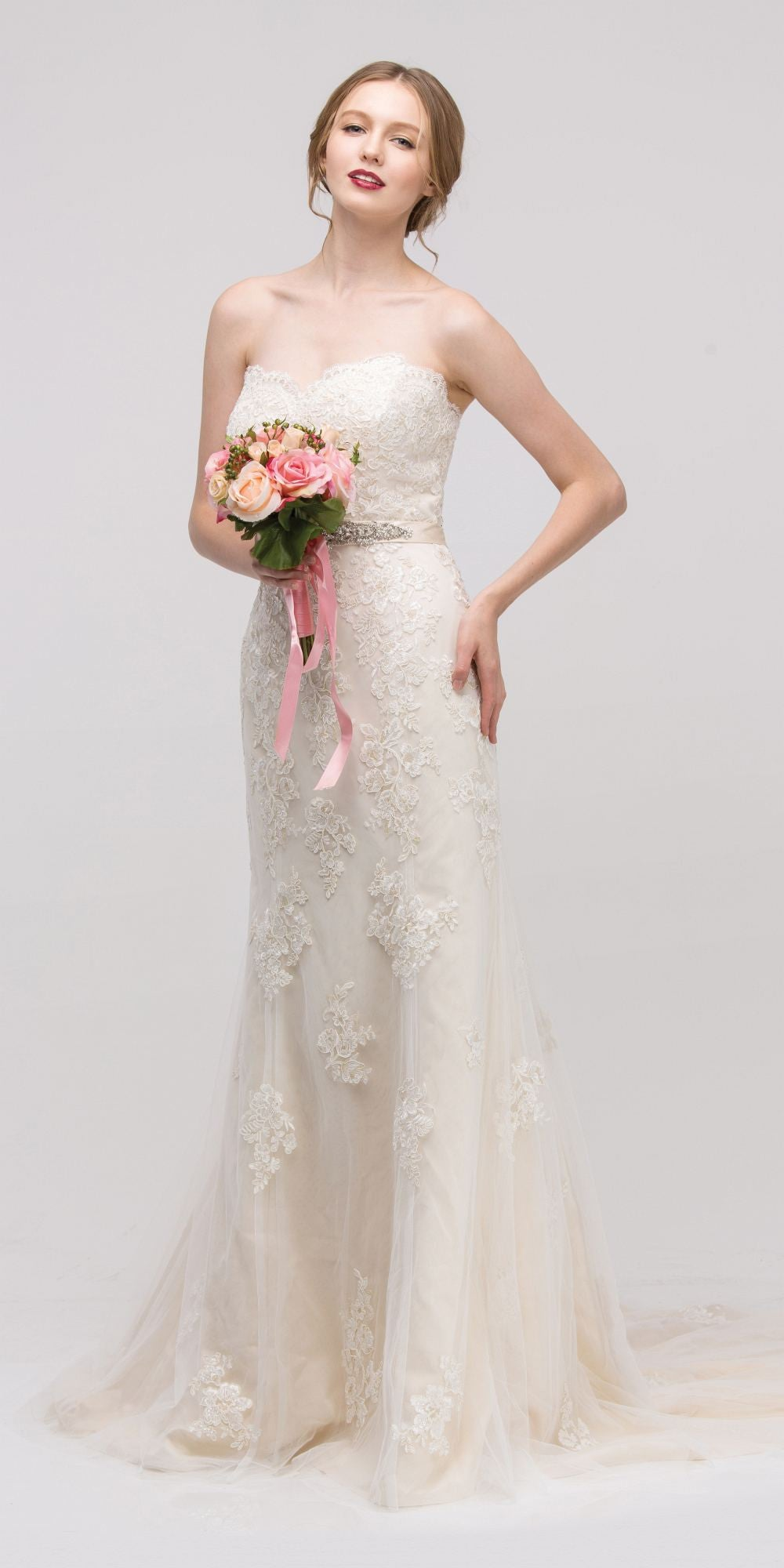 Sweetheart Neckline Fit and Flare Bridal Gown Embellished Waist ...