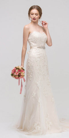 Sweetheart Neckline Fit and Flare Bridal Gown Embellished Waist Ivory/Gold