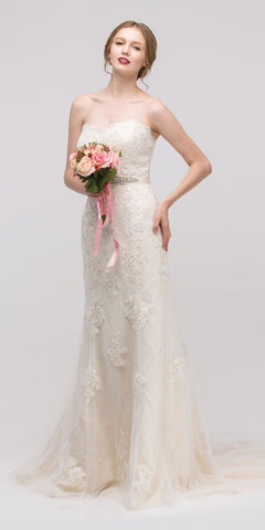 Sweetheart Neckline Fit and Flare Bridal Gown Embellished Waist