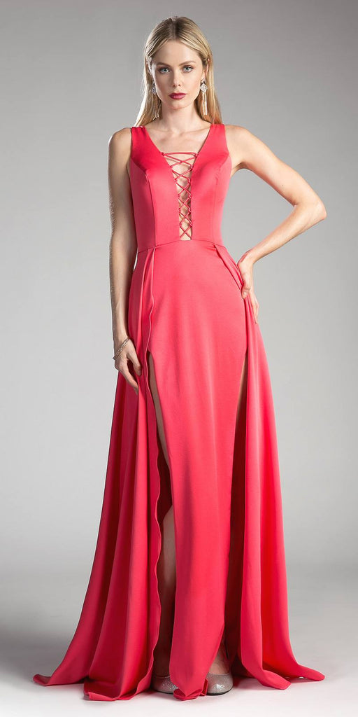 A-line Prom Gown Cut-Out Bodice and Back with Slits Hot Pink