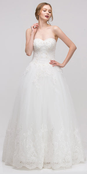 Off White Strapless Corded Lace Wedding Gown with Corset Back