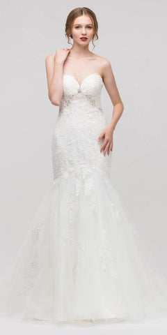Sweetheart Neck Embellished Bodice Mermaid Wedding Gown Off White