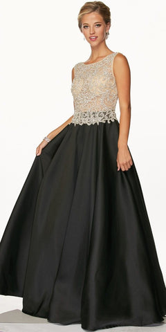 Juliet 651 Bead Applique Illusion Bodice Black Prom Gown Open Back