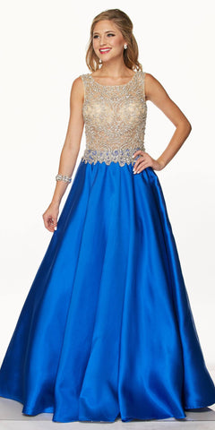 Juliet 651 Bead Applique Illusion Bodice Royal Blue Prom Gown Open Back