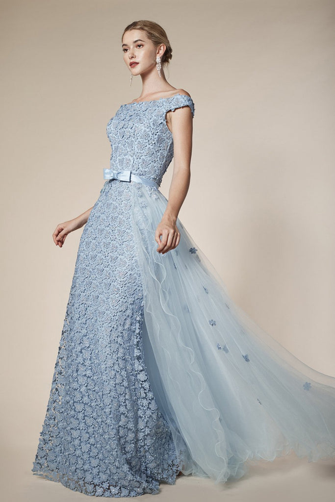 Andrea & Leo 6510 Off The Shoulder Floral Lace Sheath Gown Sky Blue Detachable Tulle Skirt