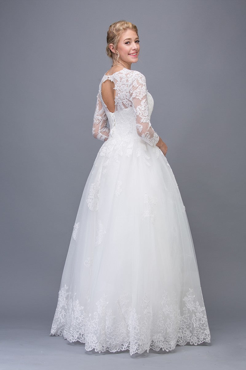 Eureka Fashion 6515 Off White Lace Wedding Ball Gown Long Sleeves ...
