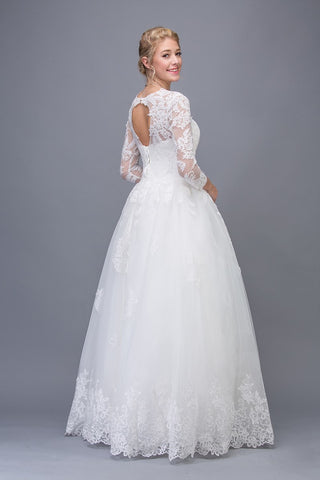 Off White Lace Wedding Ball Gown Long Sleeves Cut-Out Back