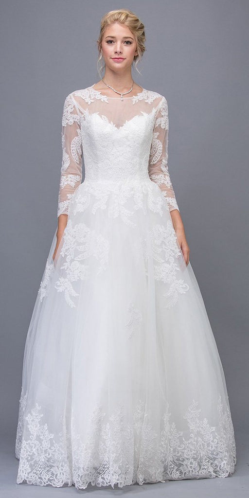 Eureka Fashion 6515 Off White Lace Wedding Ball Gown Long Sleeves Cut-Out Back