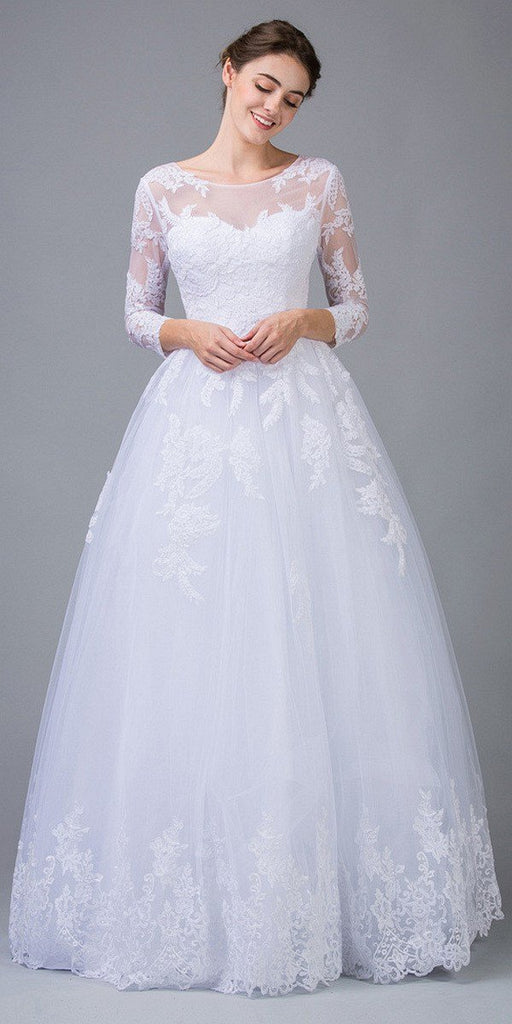 Eureka Fashion 6515 White Lace Wedding Ball Gown Long Sleeves Cut-Out Back