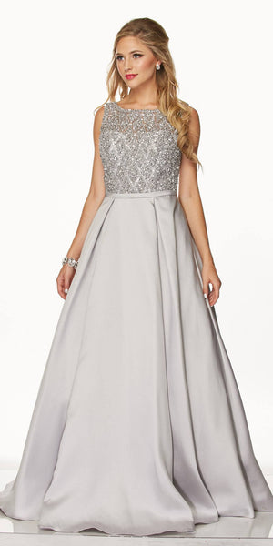 Juliet 652 Pleated Skirt Jewel Embellished Bodice Long Prom Dress Silver