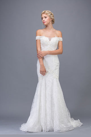 Off-the-Shoulder Lace Mermaid Wedding Gown Off White