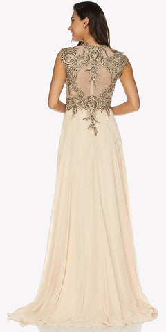 Champagne Floor Length Prom Dress V-Neck with Appliqued Bodice