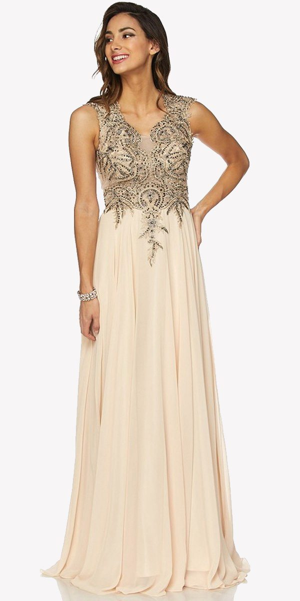 3e34d563185 Champagne Floor Length Prom Dress V-Neck with Appliqued Bodice. Tap to  expand