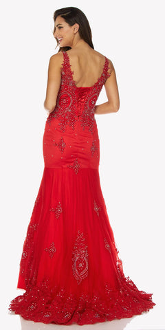 Red Floor Length Mermaid Evening Gown Lace Up Back Embroidered