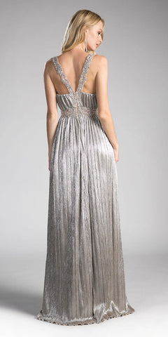 Foil Gold Plunging V-Neck Long Prom Dress Beaded Waist