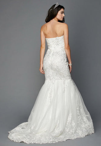 Strapless Mermaid Wedding Gown with Lace Appliques and Train Off White