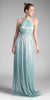 Mint Floor Length Prom Dress Halter Beaded Waist