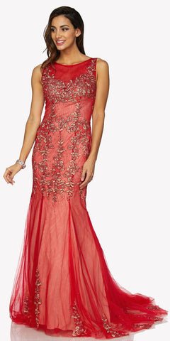 Red Sleeveless Appliqued Mermaid Evening Gown with Godets and Train