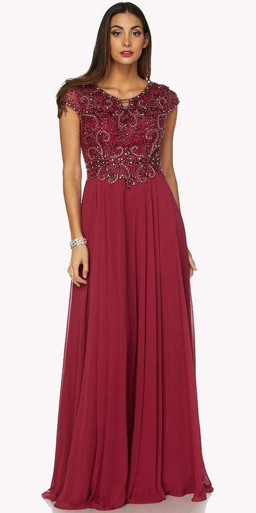 Cap Sleeves Beaded Bodice A-line Long Formal Dress Burgundy