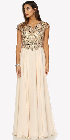 Cap Sleeves Beaded Bodice A-line Long Formal Dress Champagne
