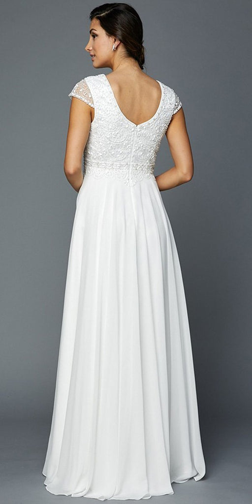 Cap Sleeves Beaded Bodice A-line Long Formal Dress Off White