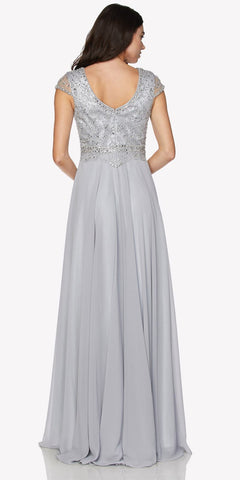 Cap Sleeves Beaded Bodice A-line Long Formal Dress Silver