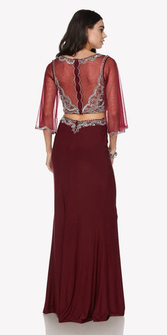 Two-Piece Long Prom Dress Illusion Mid-Length Sleeves with Slit Wine